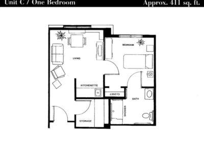 Terrace floor plan unit C